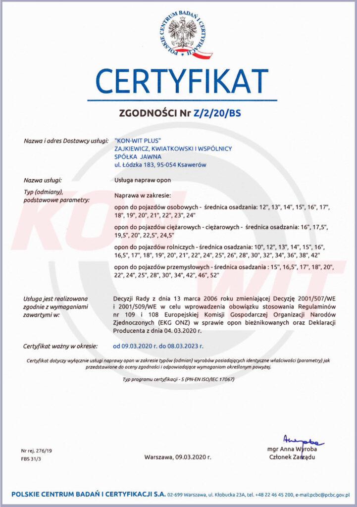 Certyfikat Zgodności Nr Z/2/20/BS